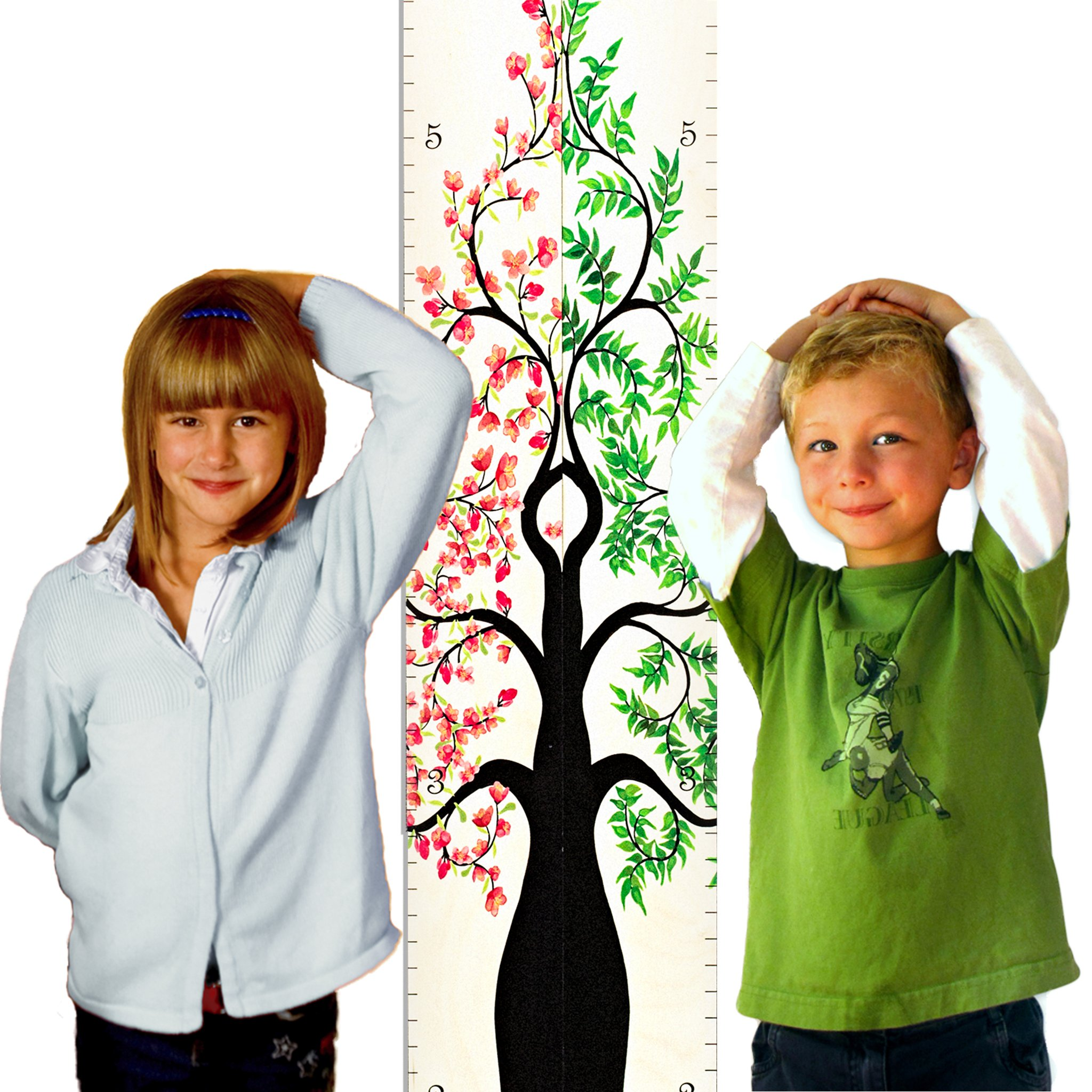 "Growth Chart Art | Hanging Wooden Height Growth Chart Pair to Measure Siblings, Twins, Children, Grandchildren - Pink Rose Flower Blossom and Green Tree of Life Pair for Girls, Boys - 58""x11.25"" by Growth Chart Art"