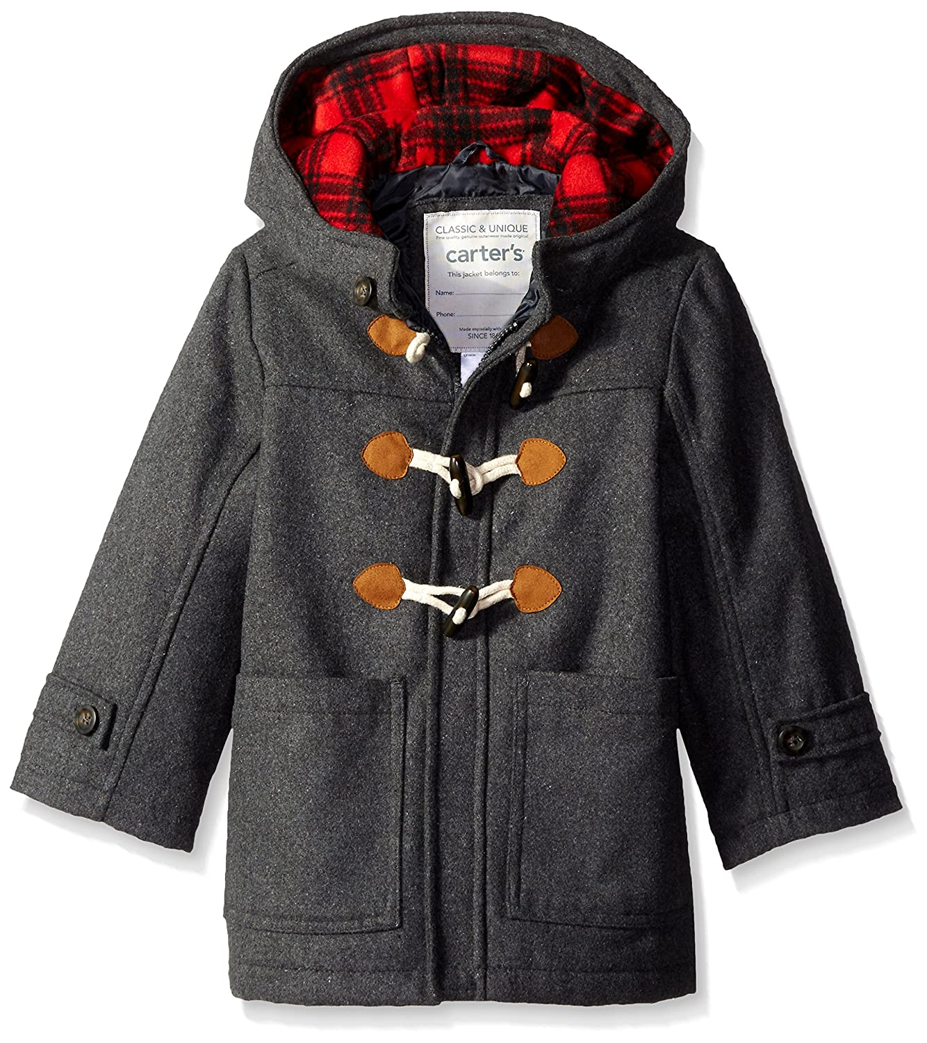 Carter's Boys' Faux Wool Heavyweight Toggle Jacket Grey 4 C216E36
