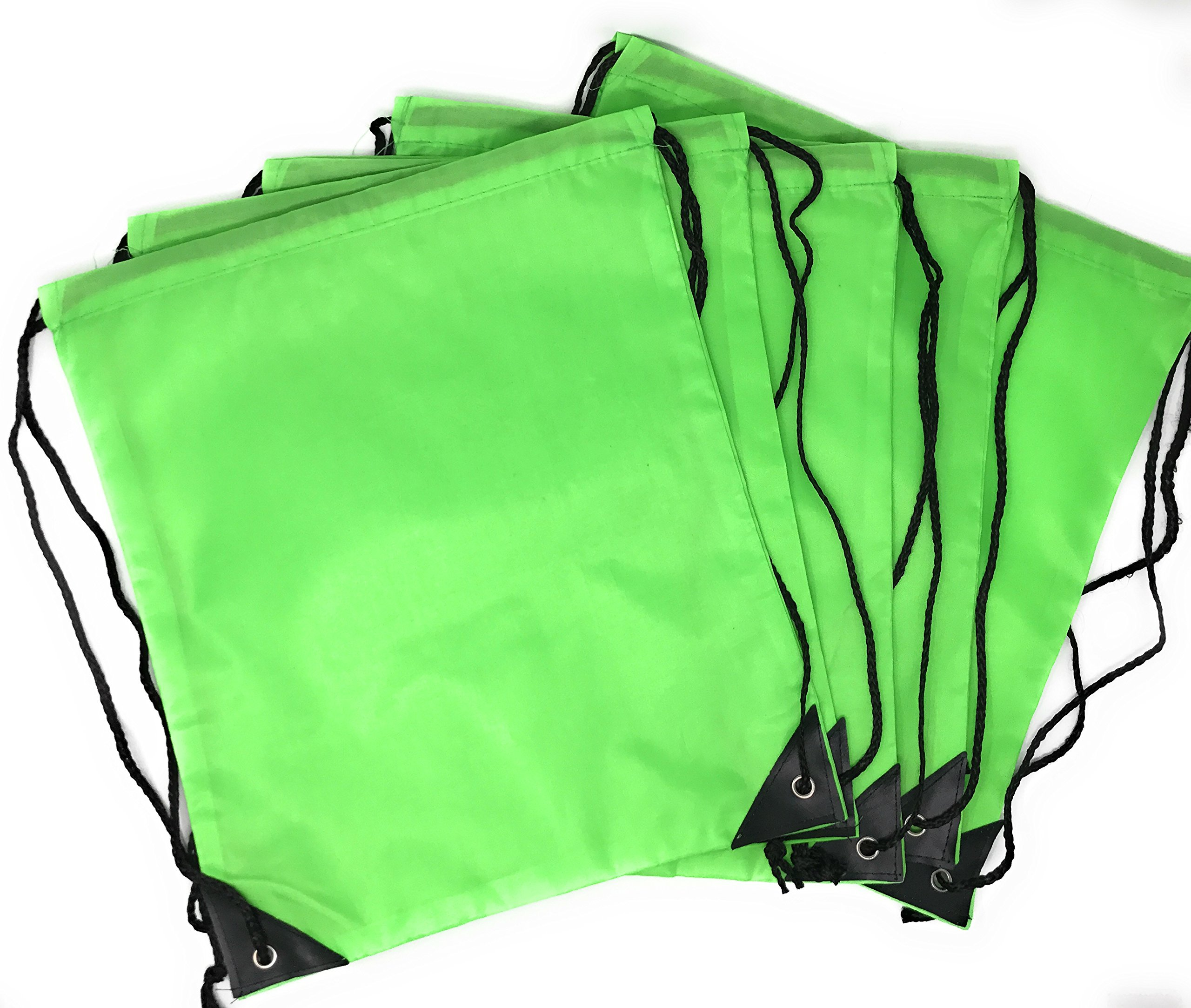 20 x Bulk Drawstring Backpack - Sports Bag Cinch Sack (Green)