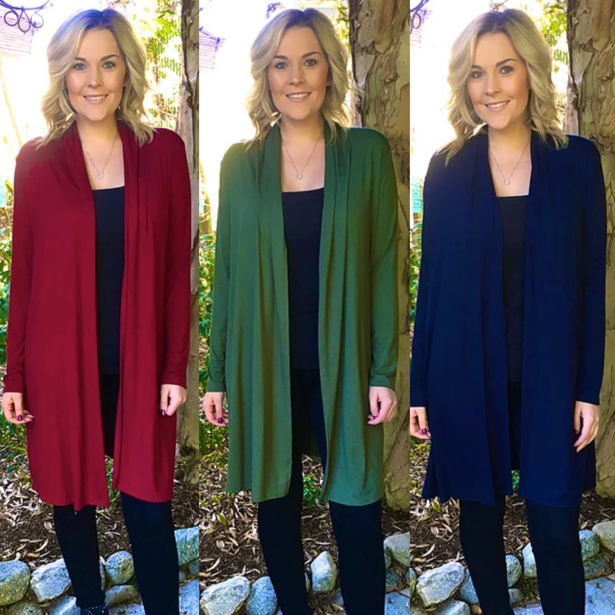 S- Plus Size Solid Red, Army Green, Navy Blue & Black Long Cardigans