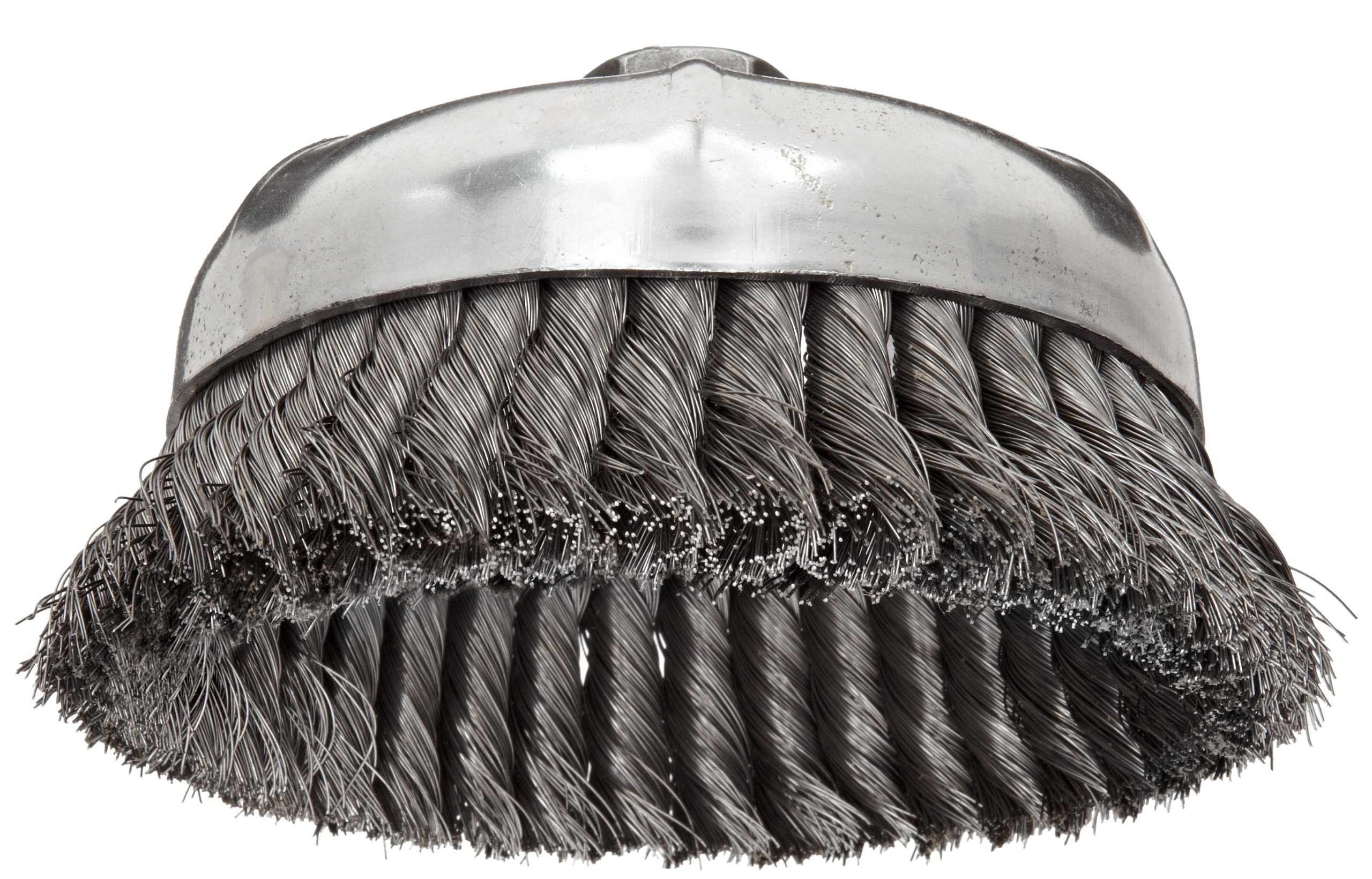 Weiler Wire Cup Brush, Threaded Hole, Steel, Partial Twist Knotted, Single Row, 6'' Diameter, 0.014'' Wire Diameter, 5/8''-11 Arbor, 1-3/8'' Bristle Length, 6600 rpm (Pack of 1)