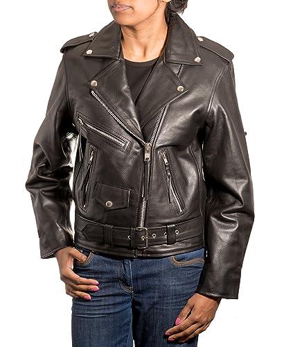 El cuero retro de las mujeres enrarece la chaqueta envuelta estilo retro del motorista de Brando de ...