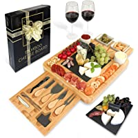 Bamboo Cheese Board and Knife Set Ceramic Bowls Wine Opener - 100% Organic Wood Serving Tray Charcuterie Board Perfect…