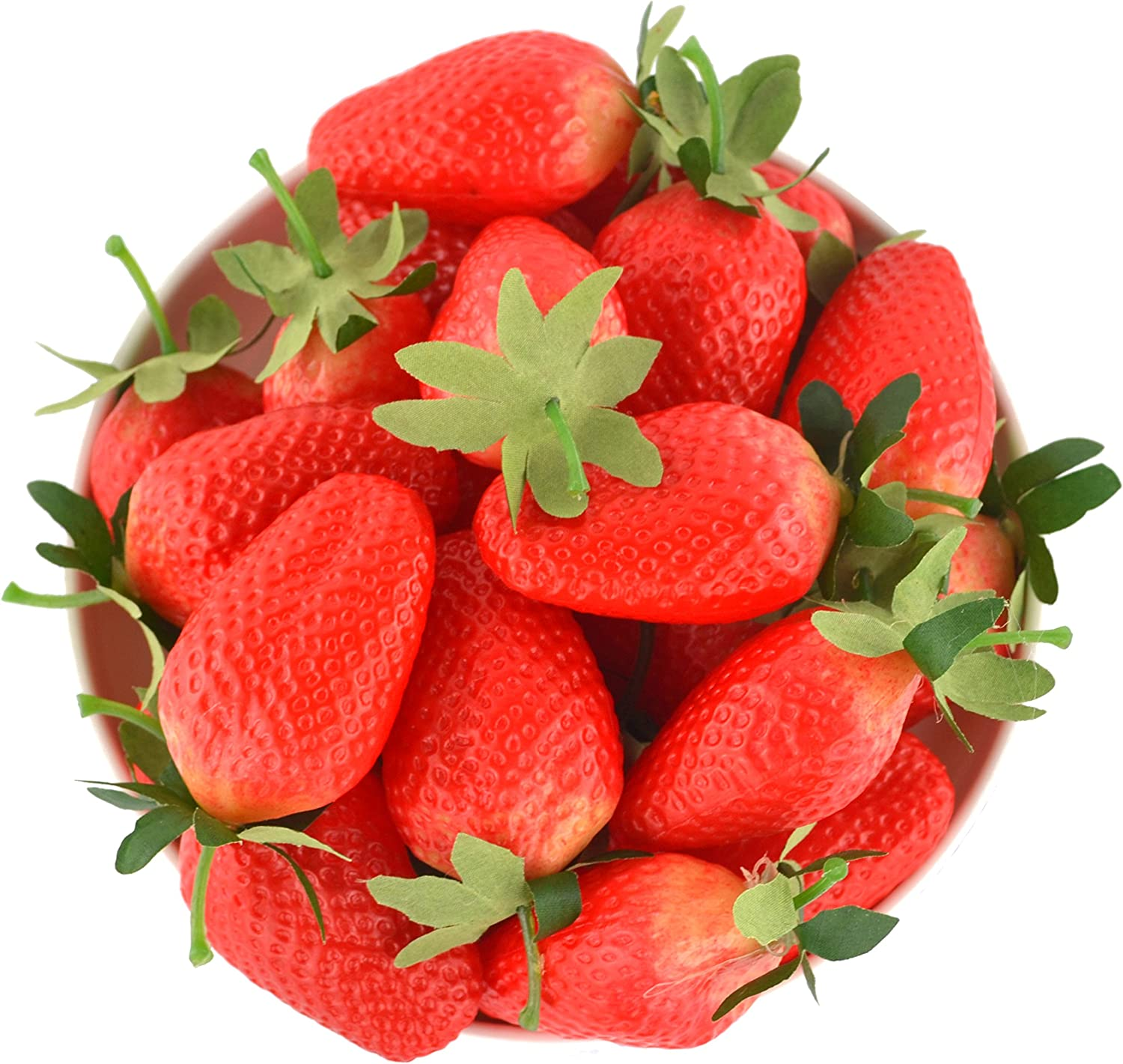 JEDFORE 12Pcs Simulation Artificial Lifelike Big Strawberries Set Fake Fruit for Home House Kitchen Party Decoration