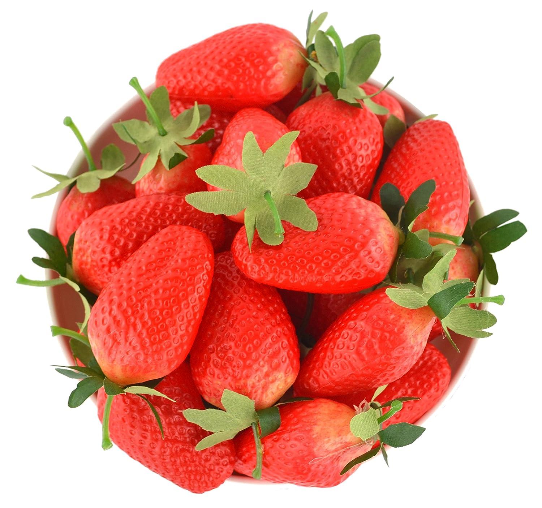 SAMYO 12Pcs Simulation Artificial Lifelike Big Strawberries Set Fake Fruit for Home House Kitchen Party Decoration