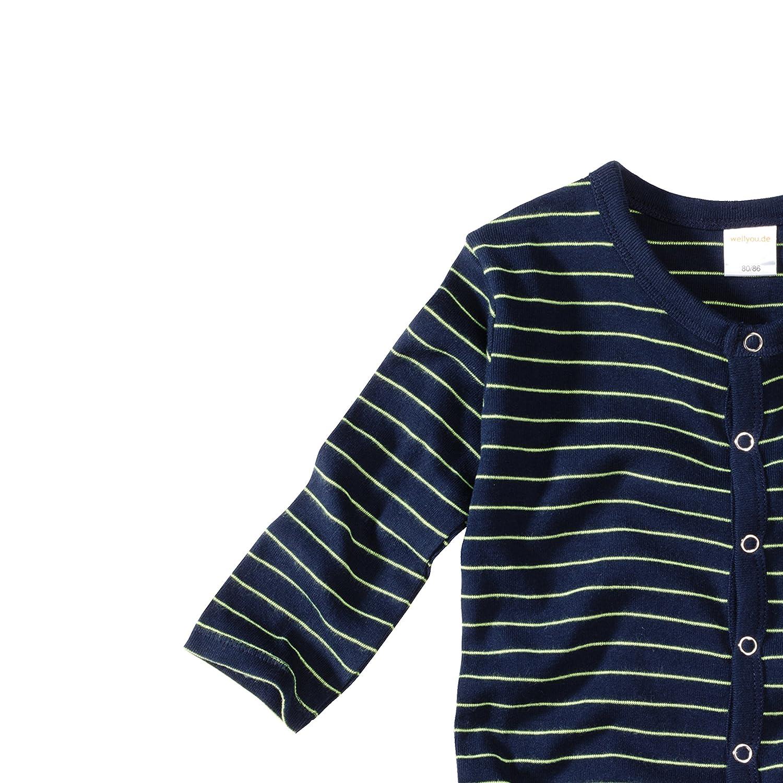 WELLYOU a Costine 100/% Cotone Baby Bambini Costume Intero a Maniche Lunghe Pigiama per Ragazzi e Ragazze Marine Neon Giallo a Righe Bimbo Pigiama