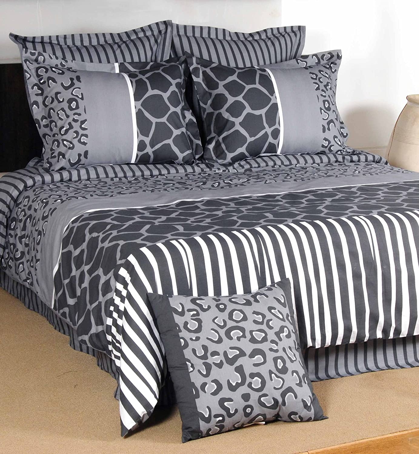 Cheap zebra print bedroom sets - Textrade African Safari 7 Piece Duvet Cover Set King Grey