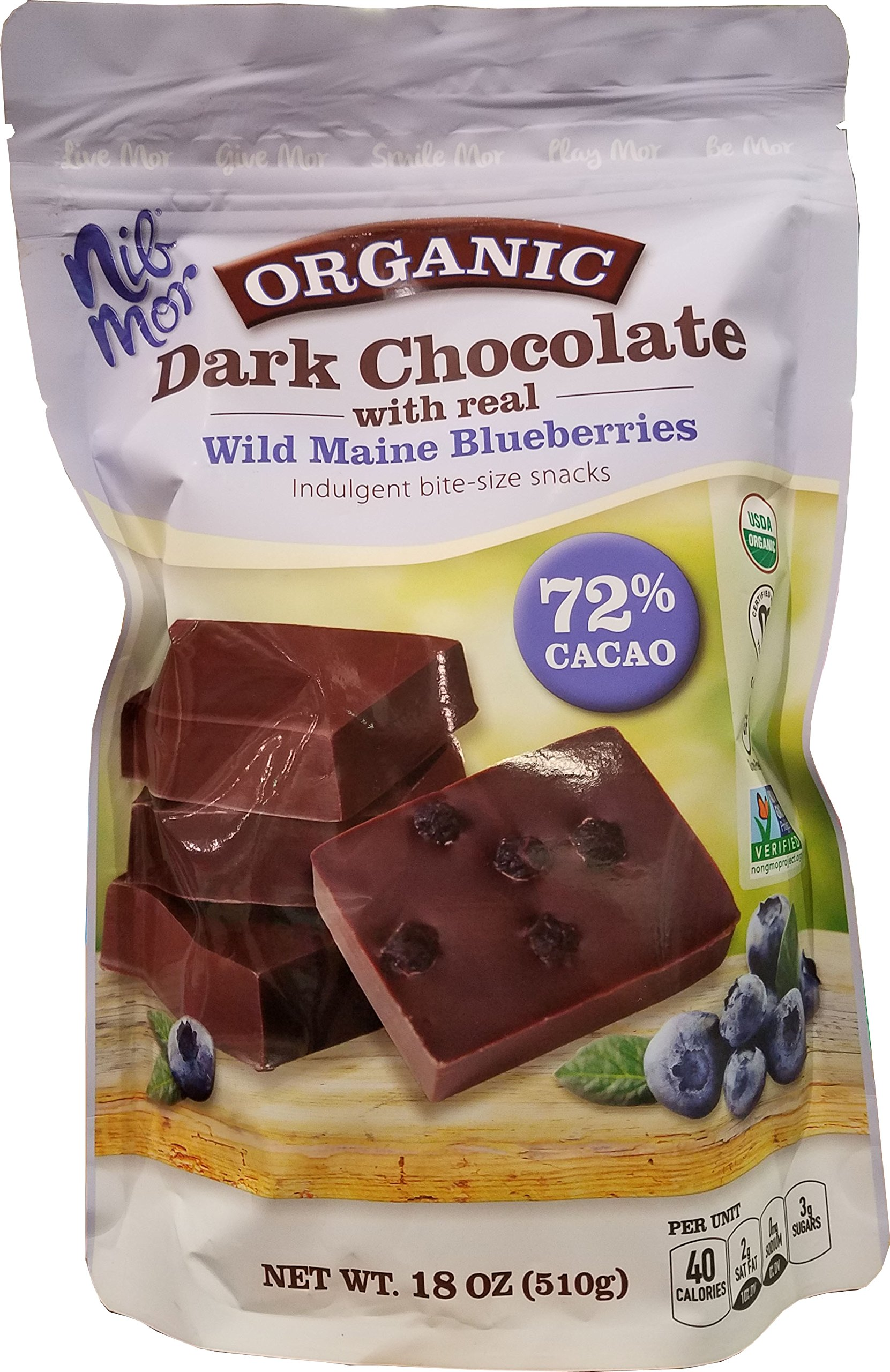 CDM product Nibmor Organic Dark Chocolate Wild Maine Blueberries, 18 Oz, 510g big image
