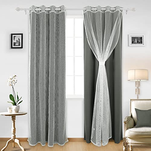 Deconovo Mix and Match Set 2 Dark Grey Blackout Curtians with Tulle White Sheer Window Curtains for Bedroom, 52×95 Inch