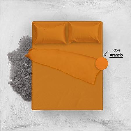 Lenzuola Matrimoniali Arancioni.L Antico Arcolaio Set Completo Letto Lenzuola 100 Cotone Tinta