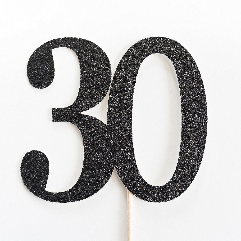 Black Glitter 30 Cake Topper, 30th Anniversary, thirtieth Birthday, thirty