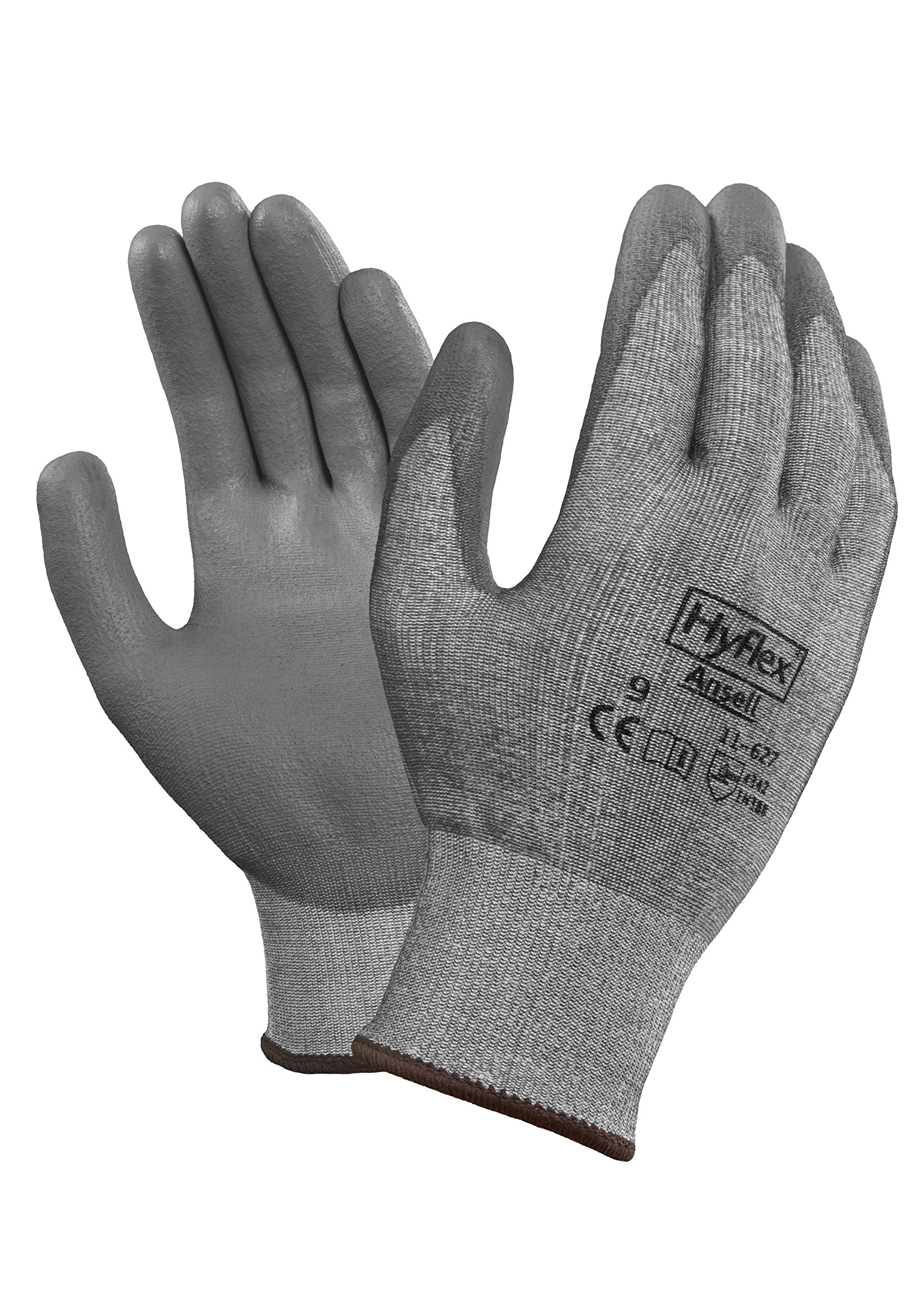 Ansell 116277 HyFlex 11-627 Coated Dipped Dyneema HPPE and LYCRA Lined Gloves, 9'' Length, 5'' Width, 0.29'' Height, Size 7, Gray (Pack of 12) by Ansell (Image #1)