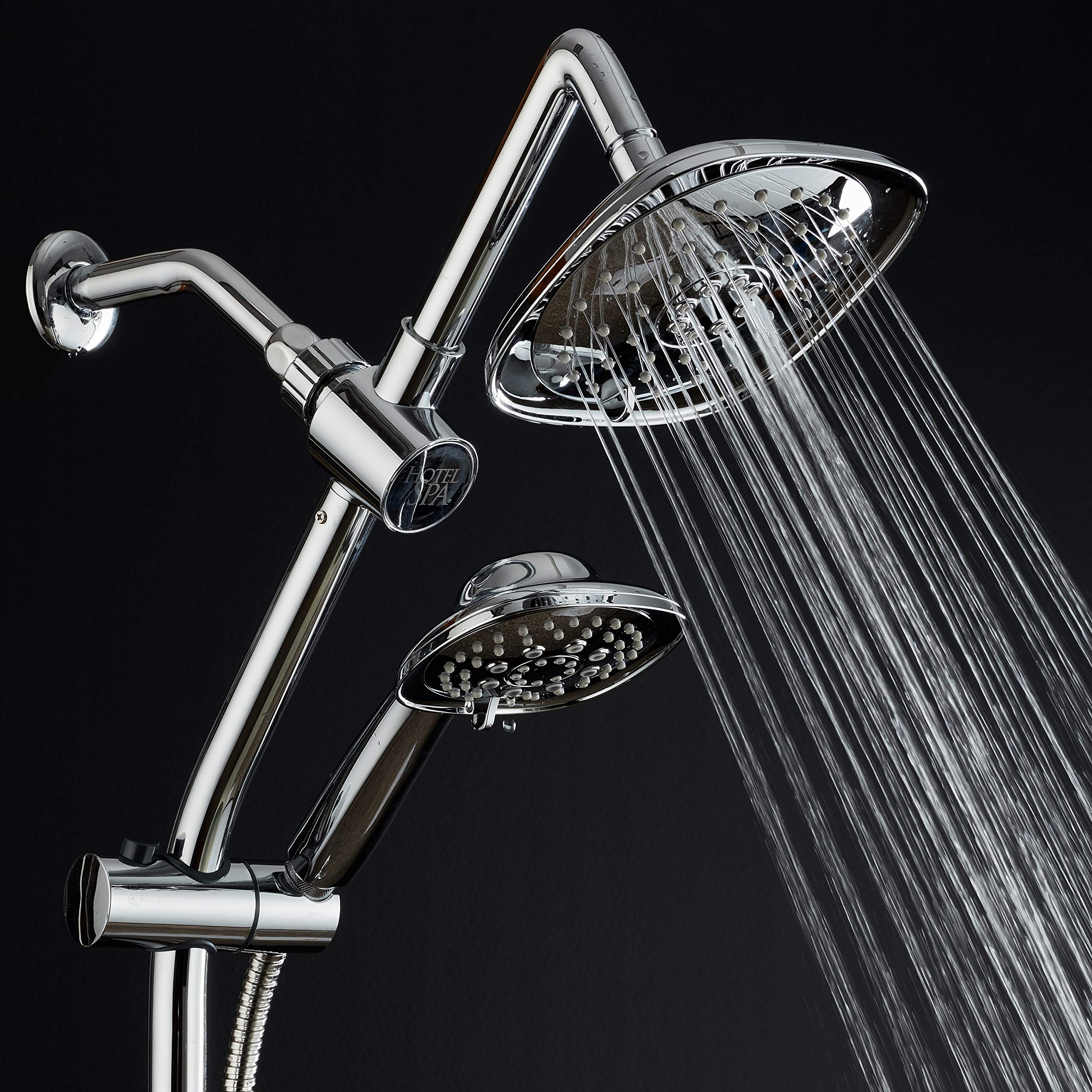 Spa Station 34'' Adjustable Drill-Free Slide Bar with 48-setting Showerhead Combo & Height Extension Arm / 3-way Square Rain & Handheld Shower Head/Low Reach Diverter/Stainless Steel Hose/Chrome by Hotel Spa (Image #6)