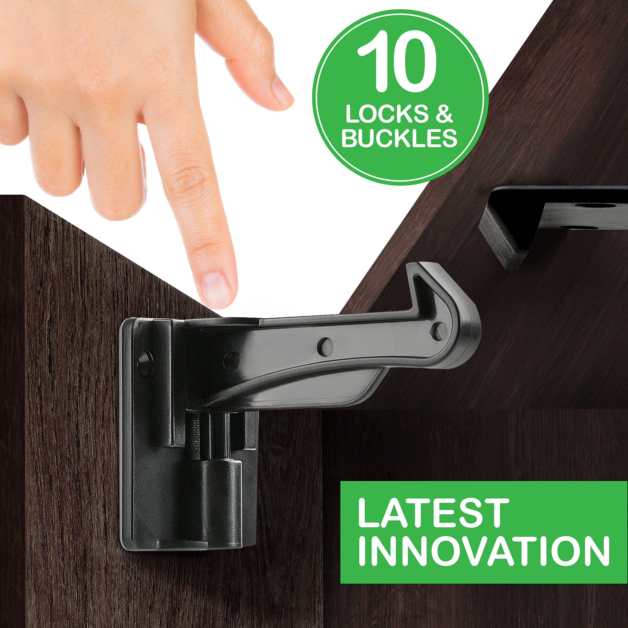 Cabinet Locks Child Safety - Cabinet Latches/Locks, Baby Proofing Cabinet System, Prevents Toddler Injuries and Provides a Slick Invisible Look !! (10 Pack – Black)