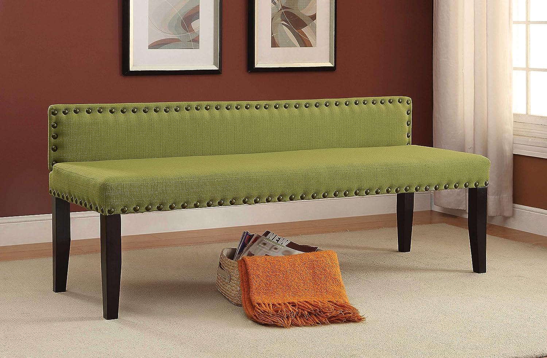 Furniture of America Petunia Modern Linen-Like Fabric Bench, 64 , Green