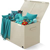 Toy Chest - 2 Bin Collapsible Storage Organizer with Lid for Kids Playroom | Box Stores Stuffed Animals, Linen, Groceries and More | The Oxford Collection, Beige