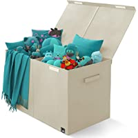 Toy Chest - 2 Bin Collapsible Storage Organizer with Lid for Kids Playroom   Box Stores Stuffed Animals, Linen, Groceries and More   The Oxford Collection, Beige