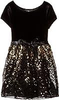 Amy Byer Big Girls' Velvet Bodice Dress with Gold Skirt