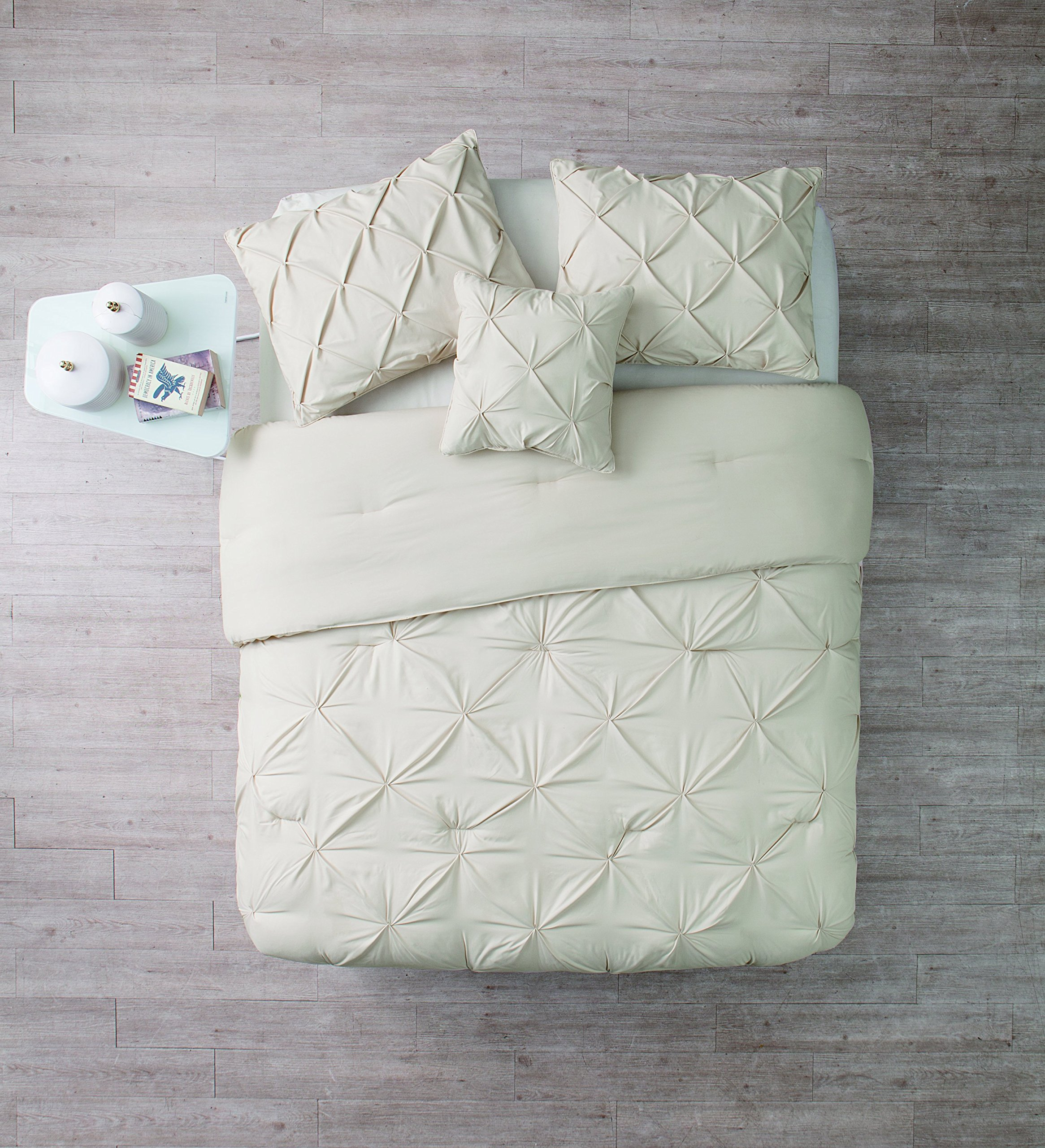 King Size Comforter Set in Taupe / Off White Posh Pintuck 4 Pc Set w/ Decorative Pillows