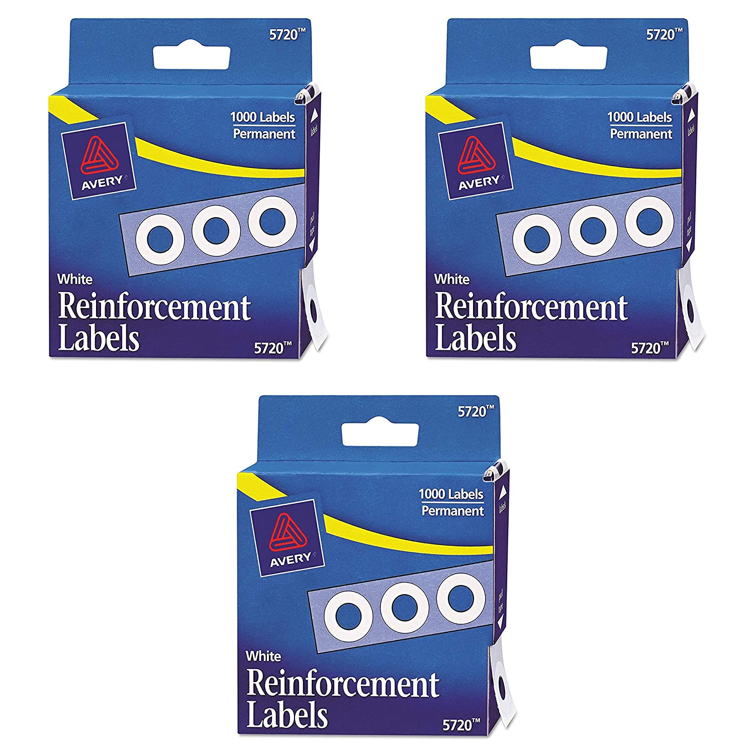 White AVE05720 Pack of 2 Avery Hole Reinforcements 1000//Pack PK