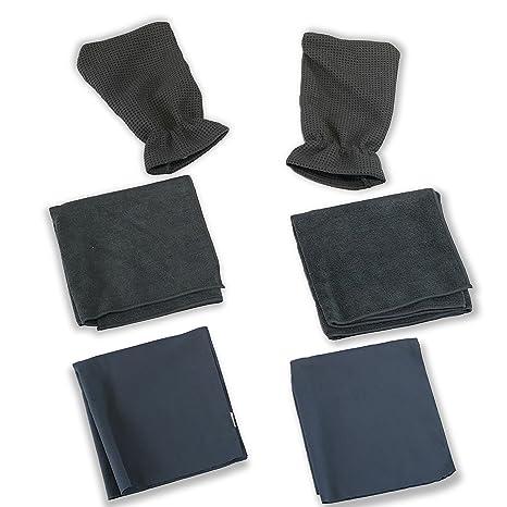 Coche Kleen Wash n 'seco toalla de microfibra Kit – dos waffletuff mano guantes