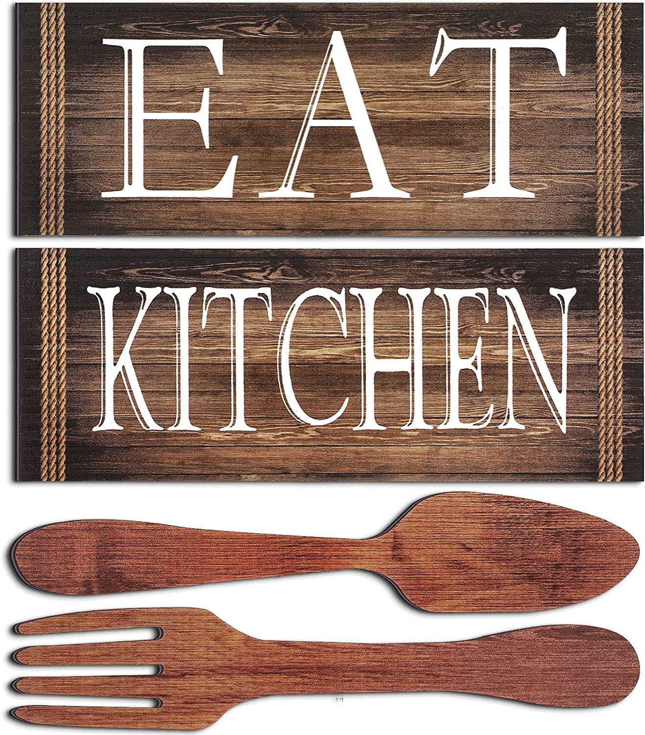 Jetec 4 Pieces Kitchen Signs Eat Signs Fork and Spoon Wall Decor Wood Rustic Kitchen Decoration Farmhouse Kitchen Wall Decor for Home Dining Room Housewarming Kitchen Decor