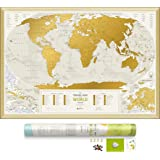 """Detailed Scratch Off World Map - Premium Edition - 34.6"""" x 23.6"""" - Large Places I've Been Travel Map - You Can Scratch Off Over 10 000 Cities and Places by 1DEA.me"""