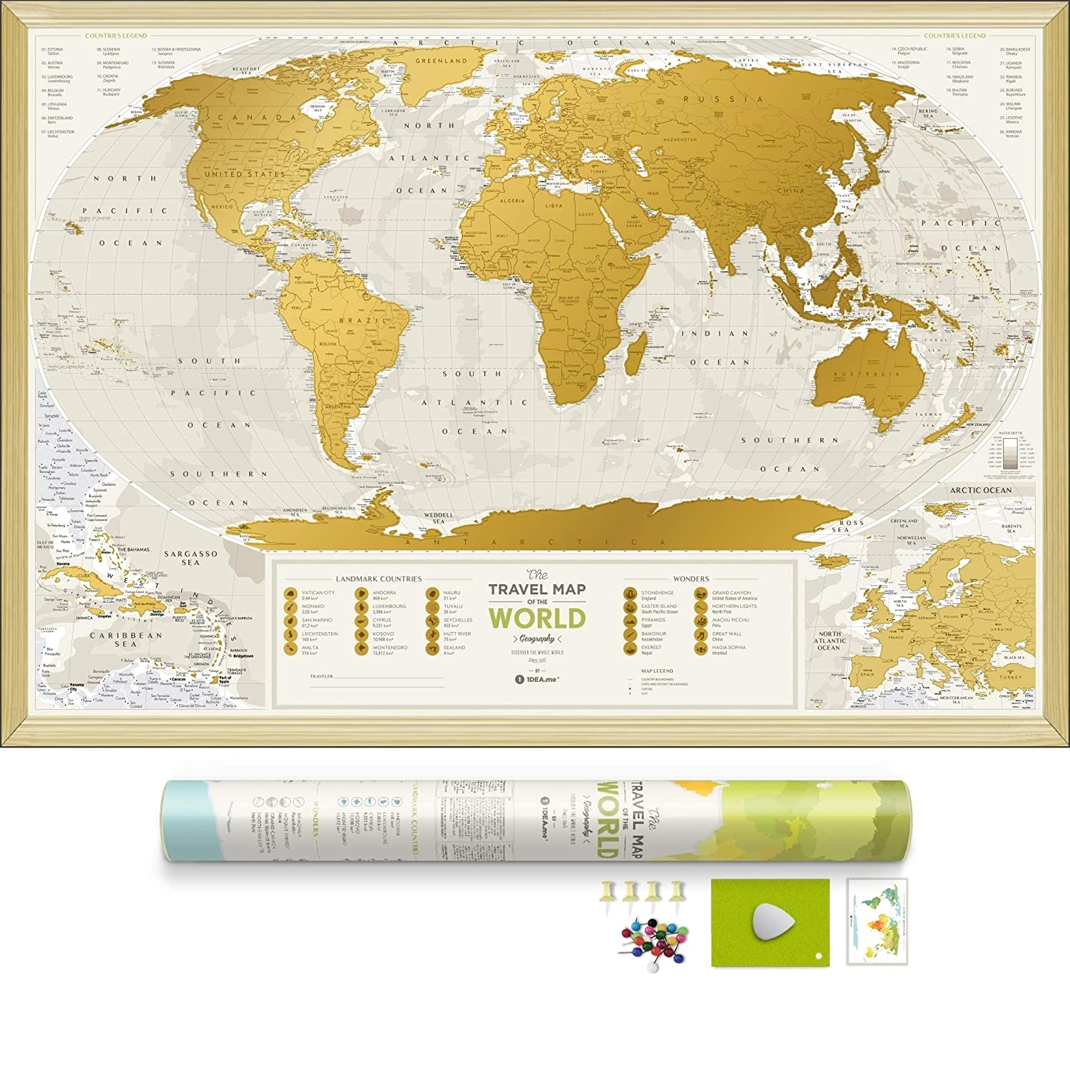 Detailed Scratch Off World Map - Premium Edition - 34.6 x 23.6 - Large Places I've Been Travel Map - You Can Scratch Off Over 10 000 Cities and Places by 1DEA.me GEOW