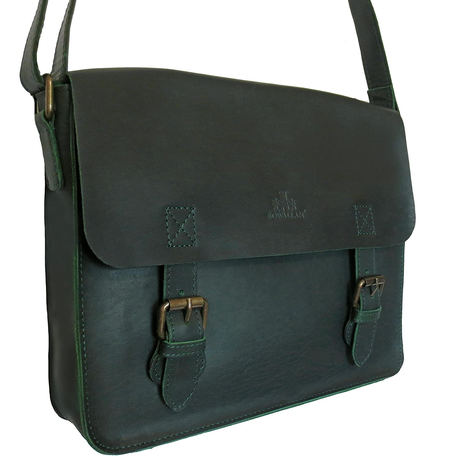 ROWALLAN GREEN BUFFALO LEATHER SATCHEL STYLE SHOULDER BAG: Amazon ...