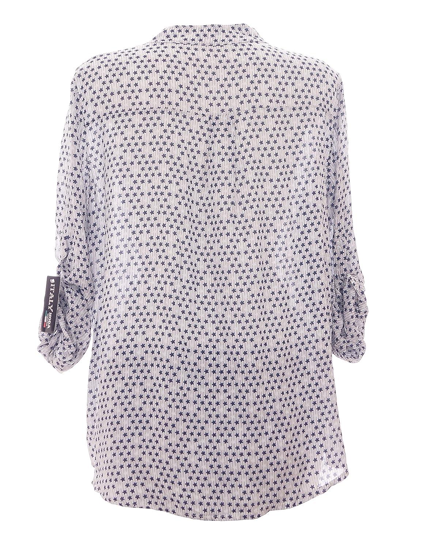 Moda Italy Damen Bluse mit Sternen V-Ausschnitt und Langen Ärmel mit Knopfriegel  Fischerhemd Longbluse Hemdbluse  Amazon.de  Bekleidung 59891f4328