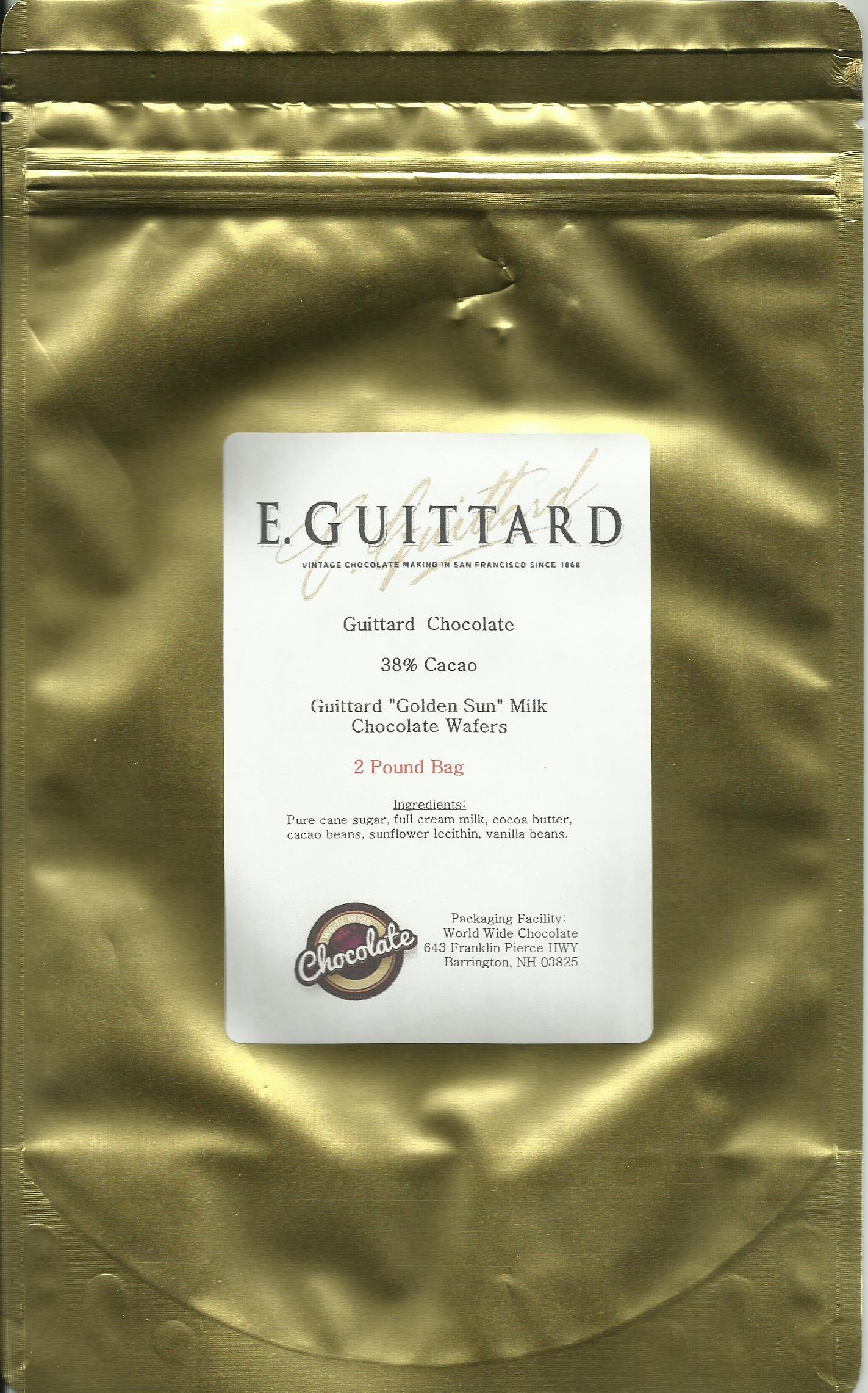 E. Guittard Chocolate - ''Soleil D'or'' (Golden Sun) Milk Chocolate Wafers for Baking and Eating, 38% Cocoa, Gold Bag, 2 Pound Bag