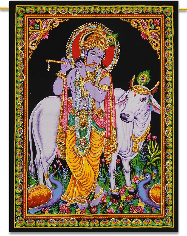 Sophia-Art Krishna Tapestry Unique Laxmi Work Shiva Radha Handmade God Cotton Buddha Sequin Wall Beautiful Poster Multi Arjun Hanging Ram Ethbic Poster Indian Poster (Krishna)