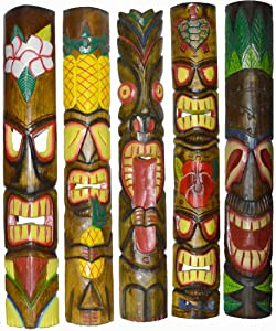 "NEW Set of 5 40"" Polynesian Hawaiian Tiki Bar Style Wall Masks Island Art"