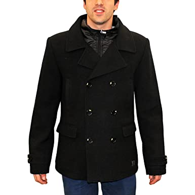 83411aed3d0 Warm Slim Fit Pea Coat with High Neck Zippered Collar Double Breasted Jacket  Overcoat - Military