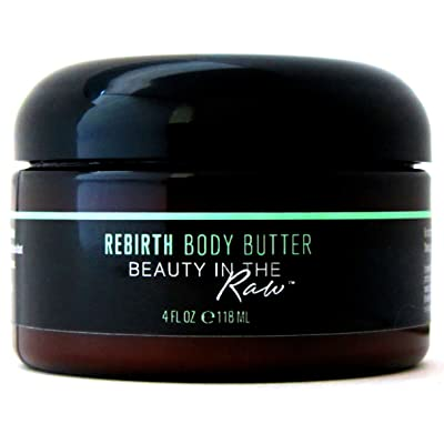 100% Natural, Organic, Vegan Wet Skin Moisturizer for Dry Rough Bumpy Sensitive Skin: hydrate, repair, protect, heal, soften, smooth | Rebirth Whipped Body Butter by Beauty in the RAW (4 fl oz)
