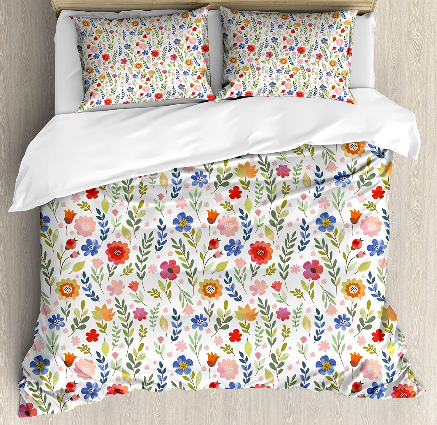 Ambesonne Watercolor Duvet Cover Set, Floral Patterned Illustration with Leaves and Wildflowers Abstract Botanical, Decorative 3 Piece Bedding Set with 2 Pillow Shams, King Size, Violet Blue