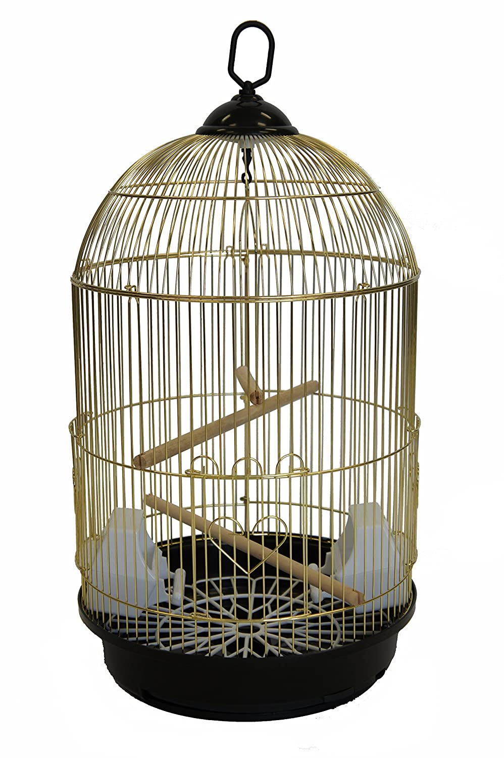 YML A1564 Bar Spacing Round Bird Cage, Small, Brass A1564BRASS