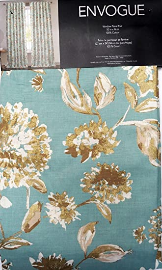 Envogue Pair Of Window Curtains Panels Set 2 Cream Tan Gold Floral Pattern On Blue