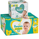 Diapers Size 4, 150 Count and Baby Wipes - Pampers Swaddlers Disposable Baby Diapers and Water Baby Wipes Sensitive Pop-Top Packs, 336 Count