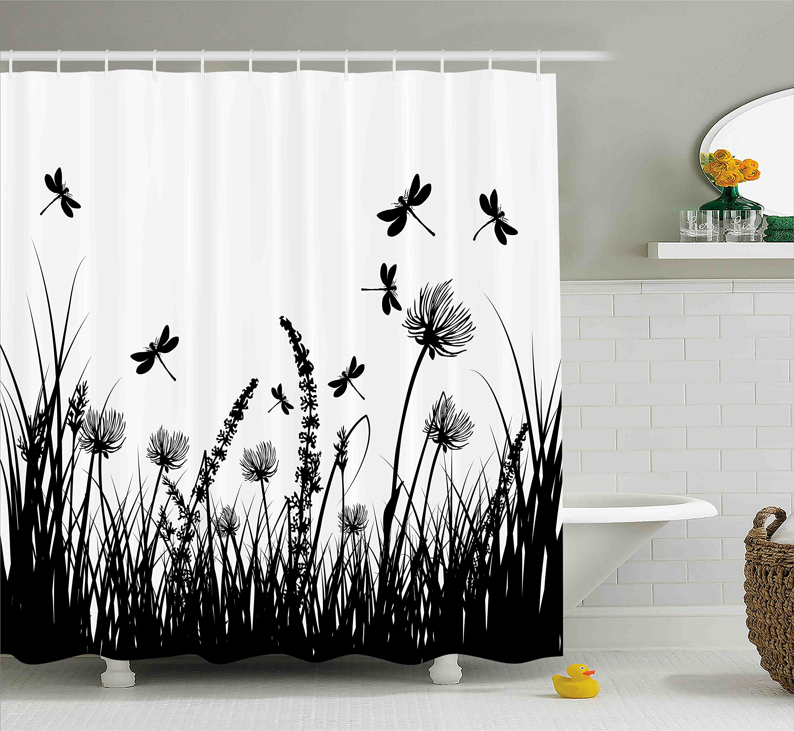 Ambesonne Nature Shower Curtain, Grass Bush Meadow Silhouette with Dragonflies Flying Spring Garden Plants Display, Fabric Bathroom Decor Set with Hooks, 75 inches Long, Black White
