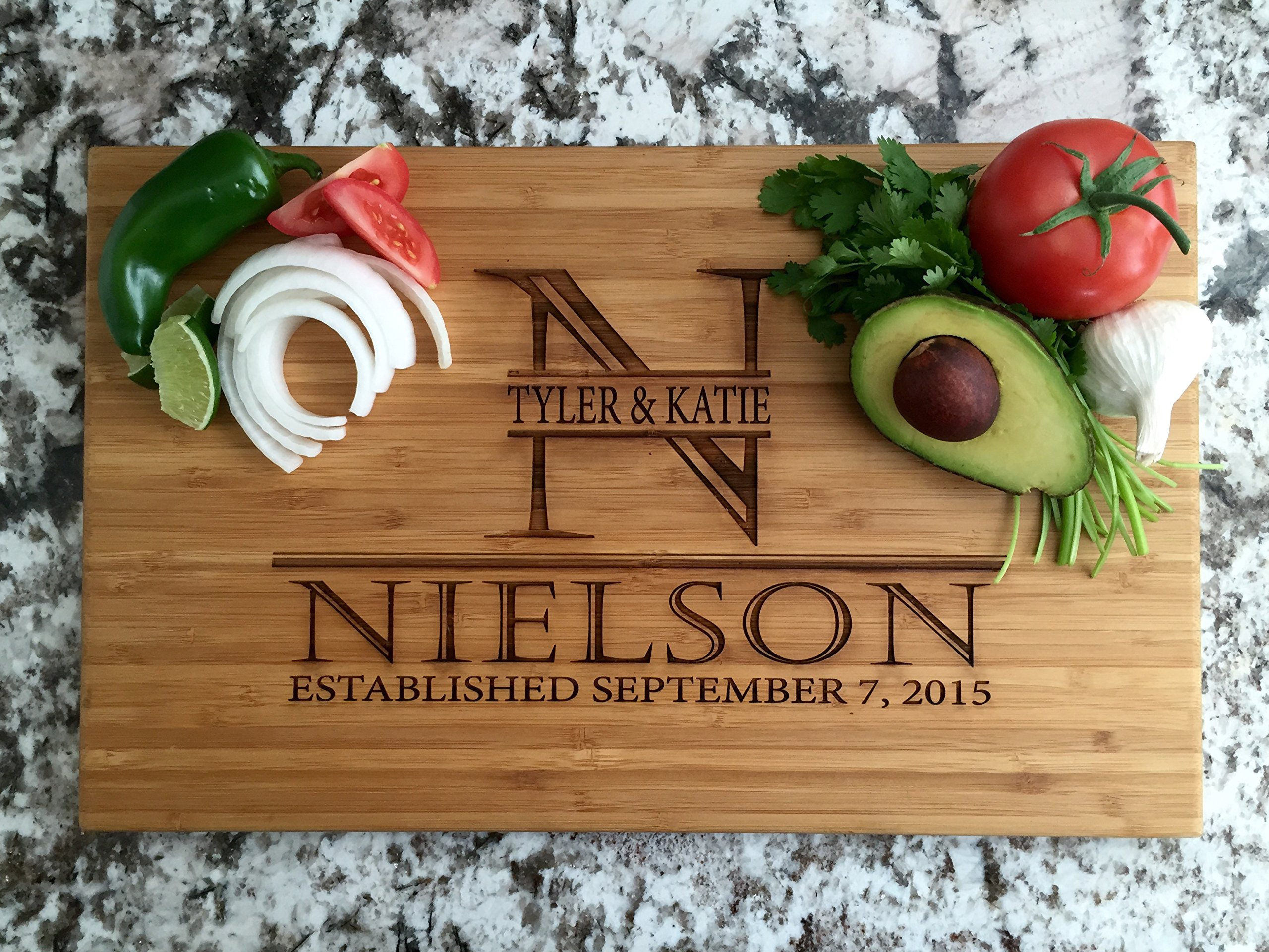 Personalized Wedding Gifts Cutting Board - Wood Cutting Boards, Also Bridal Shower and Housewarming Gifts (11 x 17 Single Tone Bamboo Rectangular, Nielson Design)