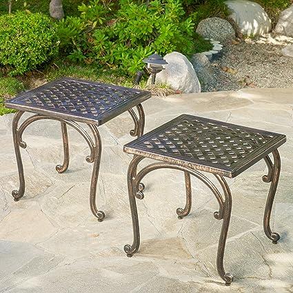 Amazon.com : Hyde Outdoor Cast Aluminium Accent Table (Set of 2 ...