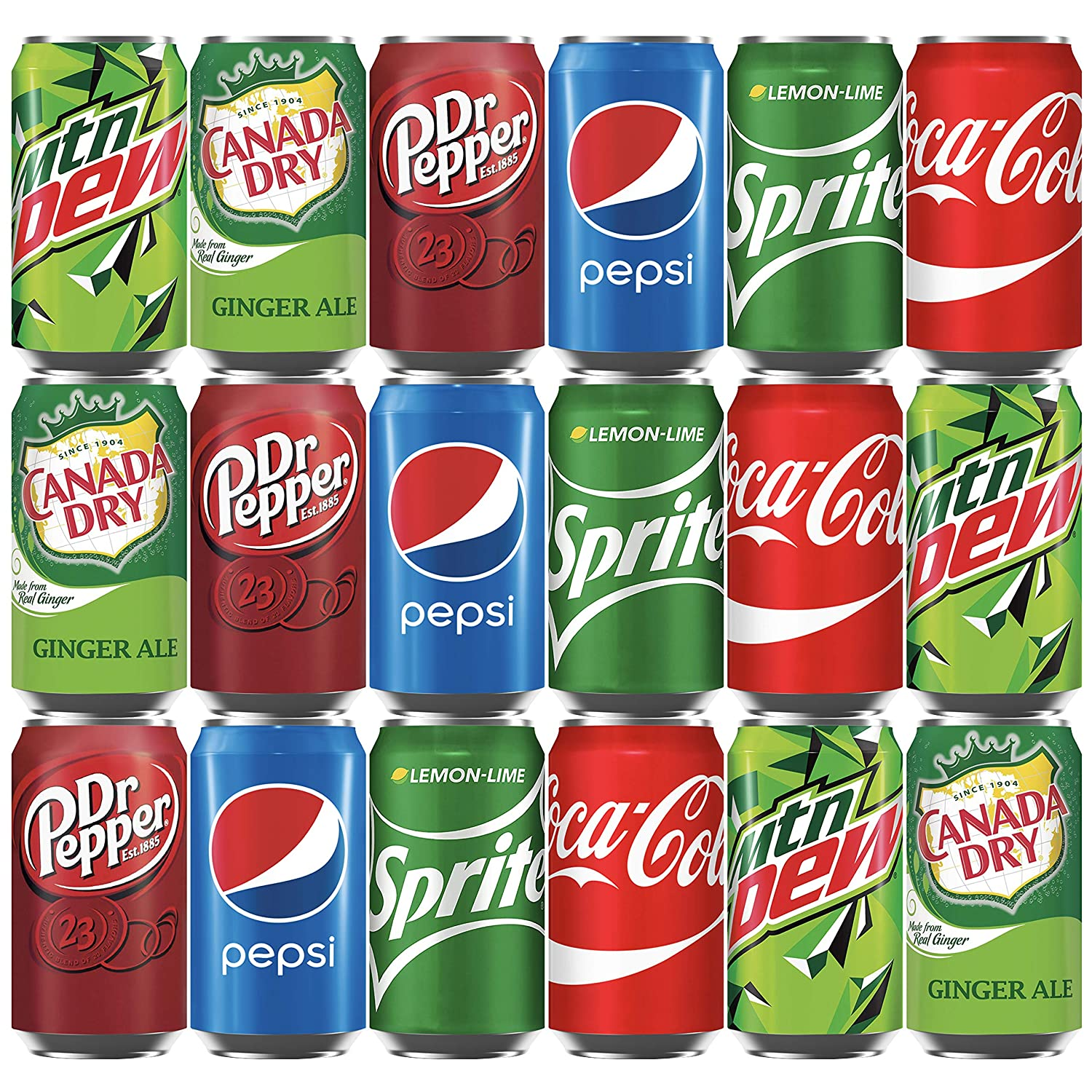 Soda Variety Pack (18 Cans) Bundle of Coke, Pepsi Cola, Dr Pepper, Mountain Dew, Sprite and Canada Dry Ginger Ale Soft Drinks, Mini Fridge Organizer Can Restock Kit