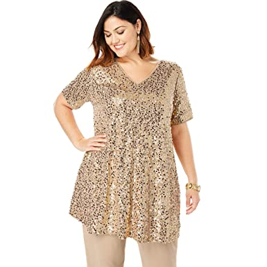 f4f207b4ccd Roamans Women's Plus Size Sequin Tunic & Pant Set at Amazon Women's Clothing  store: