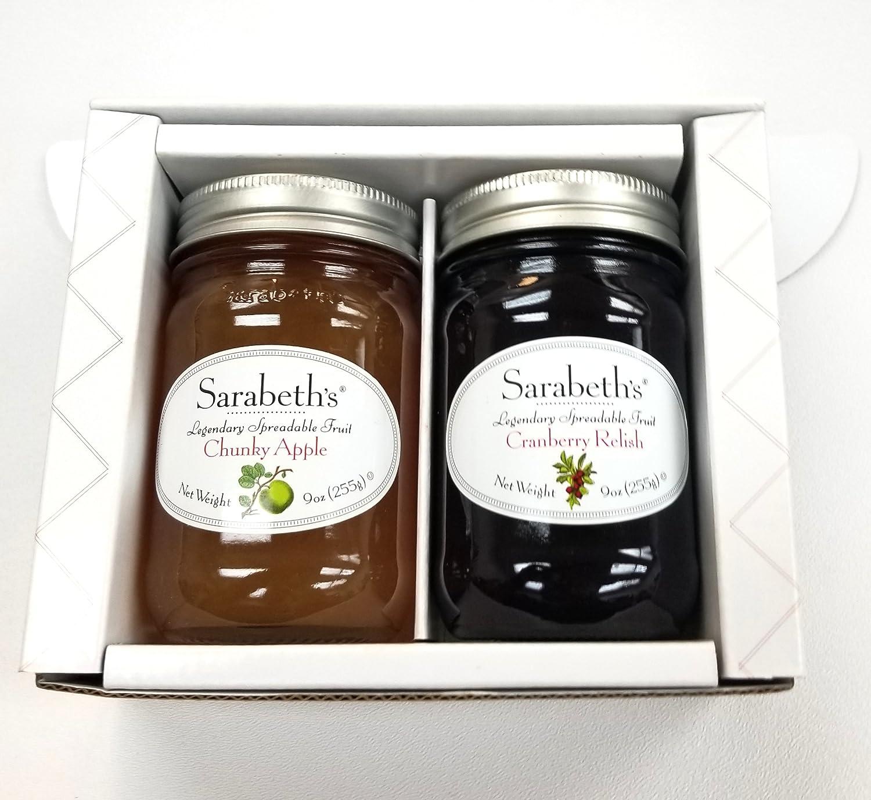 Sarabeth's Fall Two Jar Gift Box Set - 3 PACK - Cranberry Relish & Chunky Apple