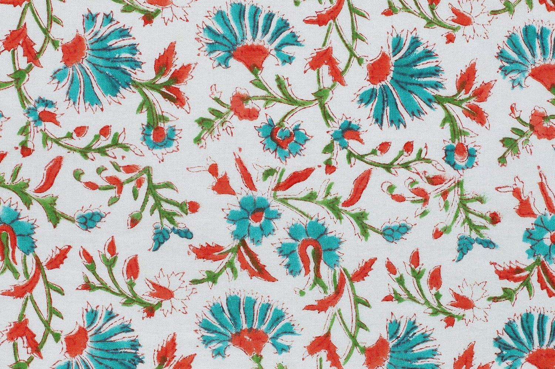 100/% Cotton Multicolor Sew Fabric Floral Print Craft Aparel Drape By Metre
