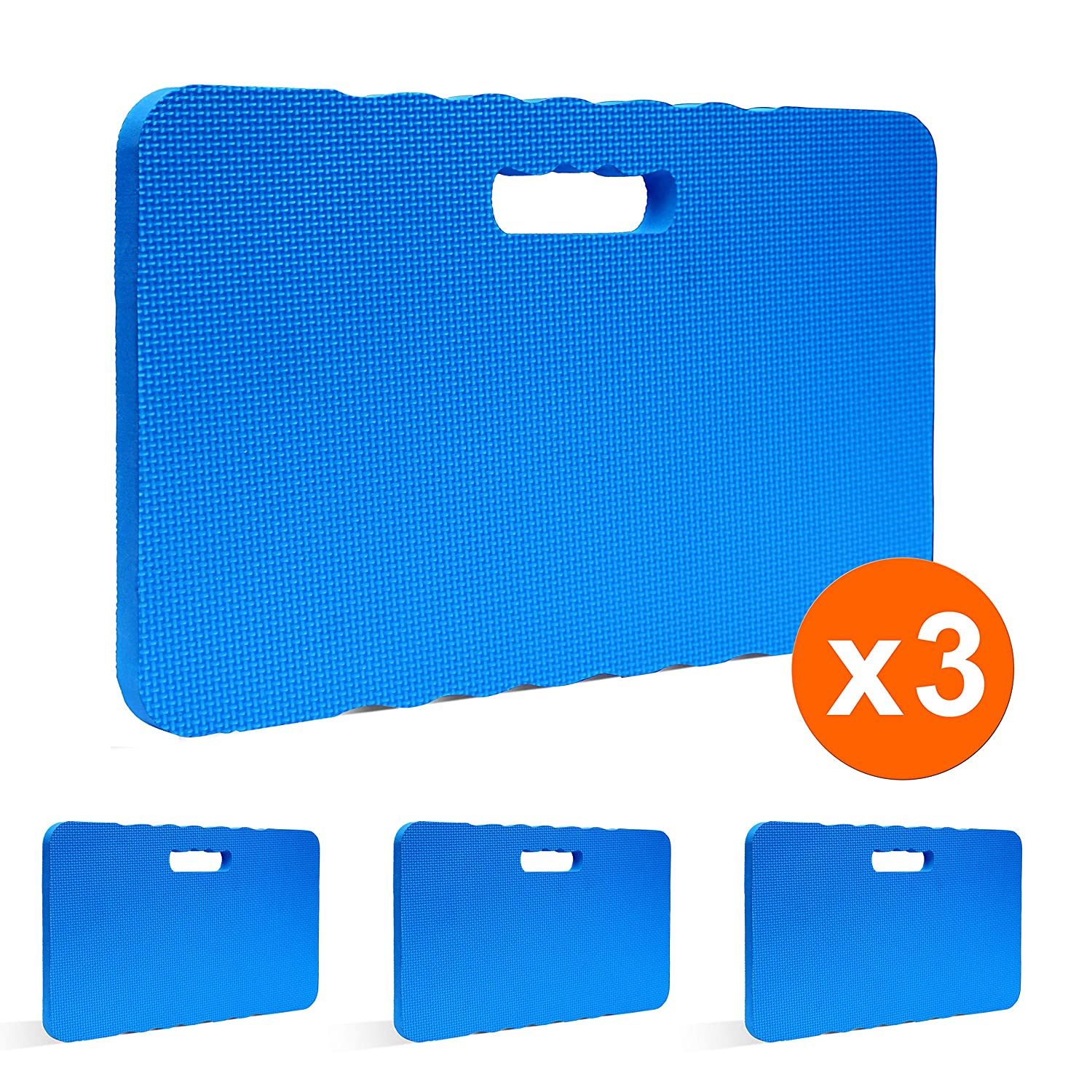 "Gardzen 3 Pack Garden Kneeling Pad - for Gardening, Baby Bath, Yoga, Pilates, Exercise, 18""x11""x1"", Blue"