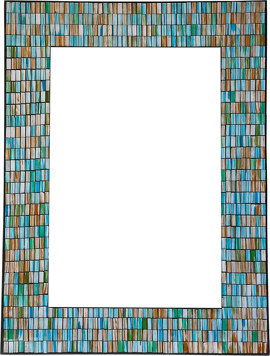 Zorigs Mirror Wall Art Décor – Handcrafted Decorative Wall Mirror, Sea Blue, Turquoise, and Opal Reflective Glass Mosaic Mirror 32