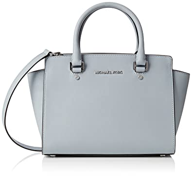 dff2278e23fb Michael Kors Selma Medium Satchel saffiano leather Dusty Blue/Silver:  Amazon.in: Shoes & Handbags