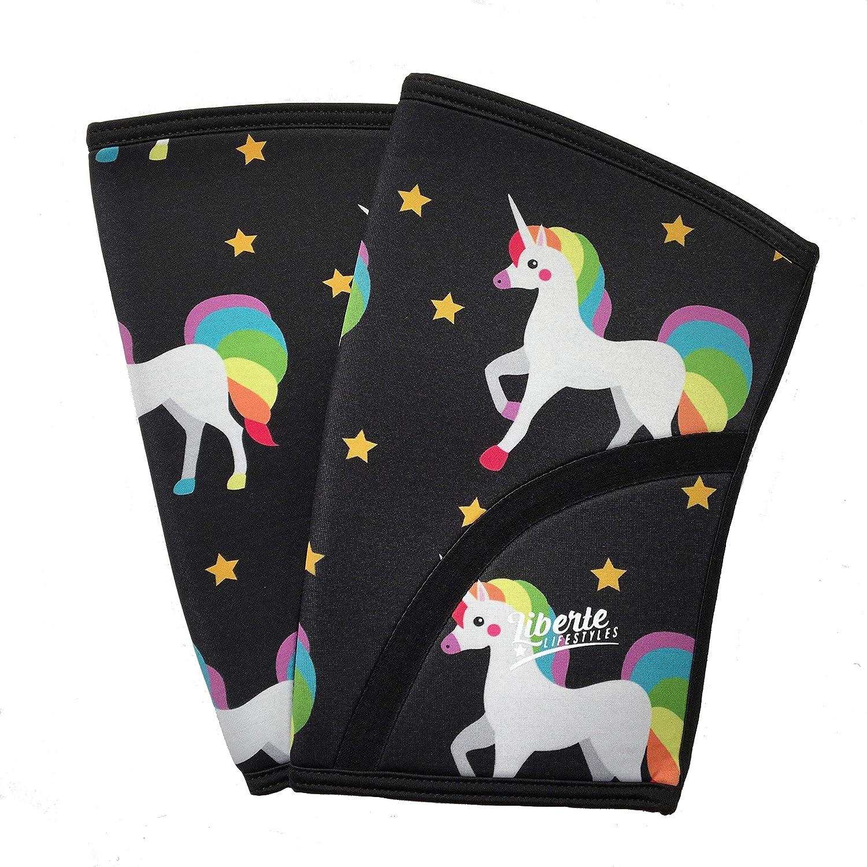 4ea5d00418 Amazon.com : Liberte Lifestyles 5mm Reversible Unicorn Galaxy Print Knee  Sleeves (Pair) : Sports & Outdoors